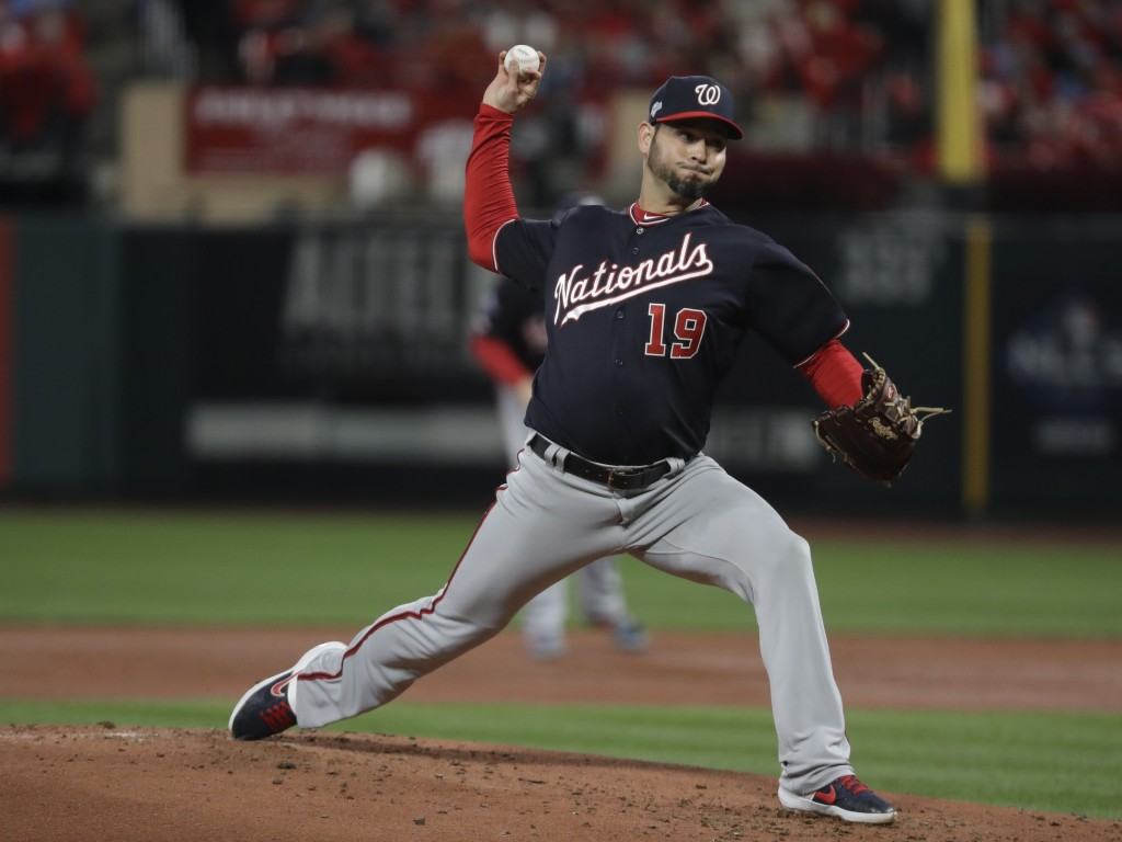 Washington Nationals starting pitcher Anibal Sanchez throws during the second inning of Game 1 of the baseball National League Championship Series aga...