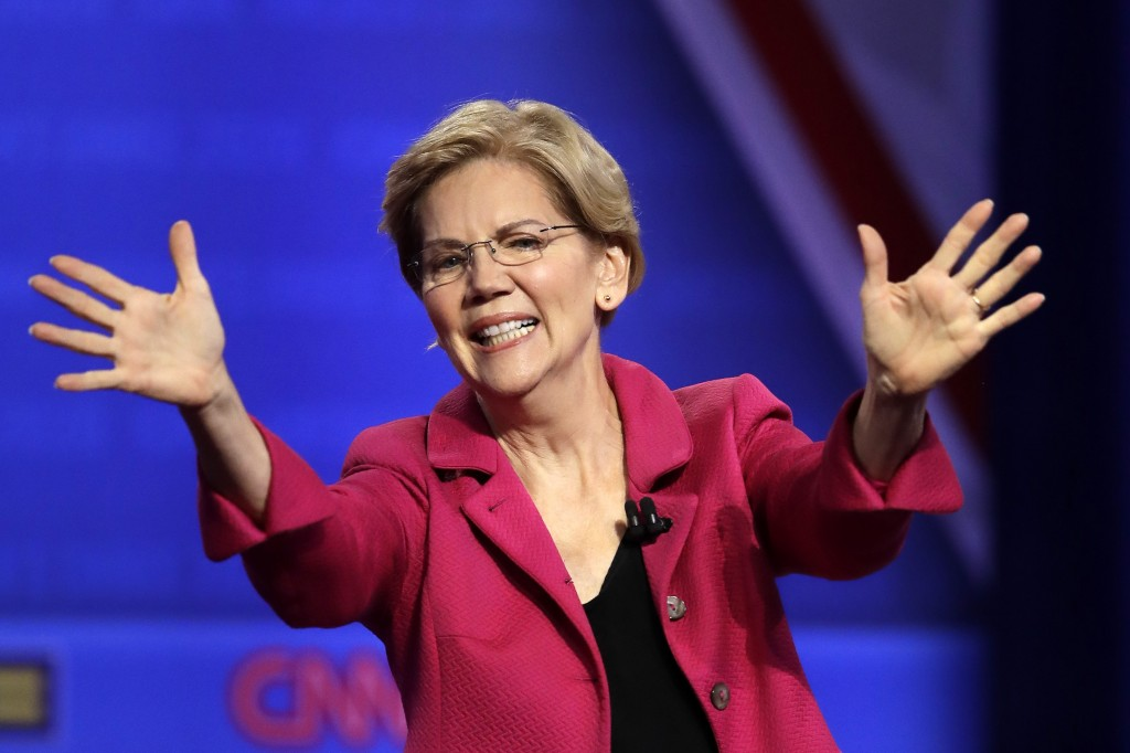 In this Oct. 10, 2019, photo, Democratic presidential candidate Sen. Elizabeth Warren, D-Mass., speaks during the Power of our Pride Town Hall in Los