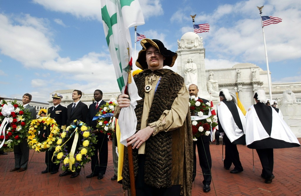 FILE - In this Monday, Oct. 11, 2004 file photo, Vincent Reilly, center, portraying Christopher Columbus, stands with, from left, Stafano Stefanini, d...
