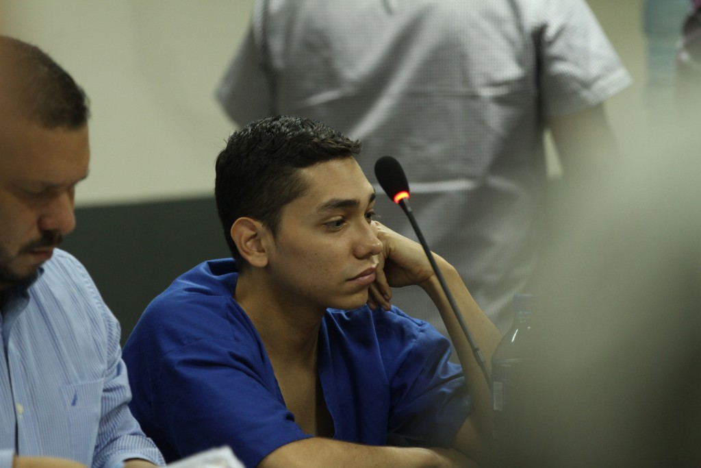 FILE - In this Oct. 11, 2019 file photo, lawyer Eduardo Rubi, left, appears in court with his client Nicaraguan Orlando Tercero in Managua, Nicaragua....