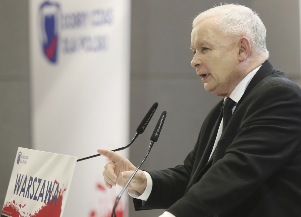 In this photo taken Tuesday Oct. 8, 2019 Poland's ruling right-wing party leader Jaroslaw Kaczynski speaks at a convention in Warsaw, Poland, ahead of...