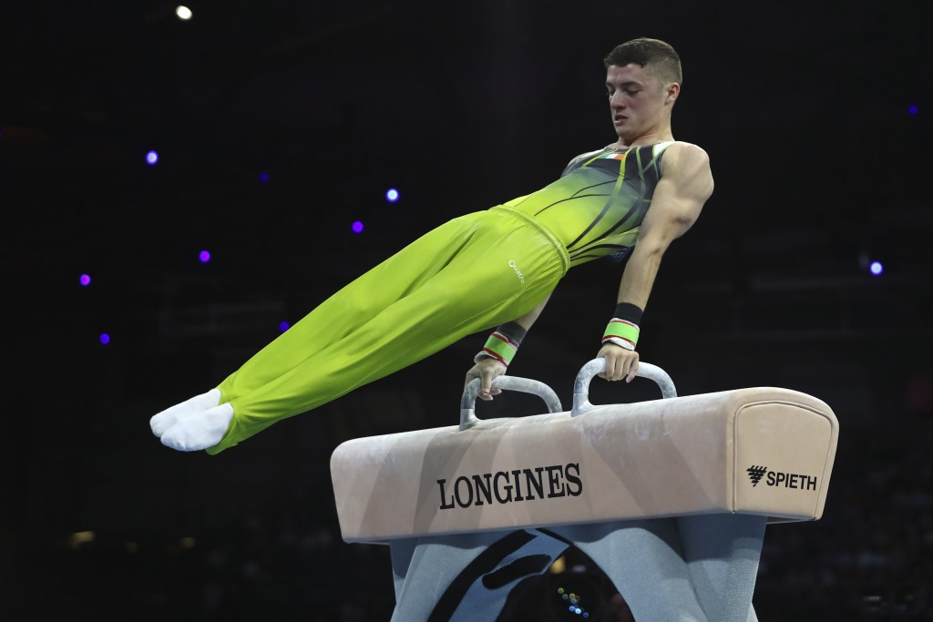 Bronze medalist Rhys McClenaghan of Ireland performs on the pommel horse in the men's apparatus finals at the Gymnastics World Championships in Stuttg