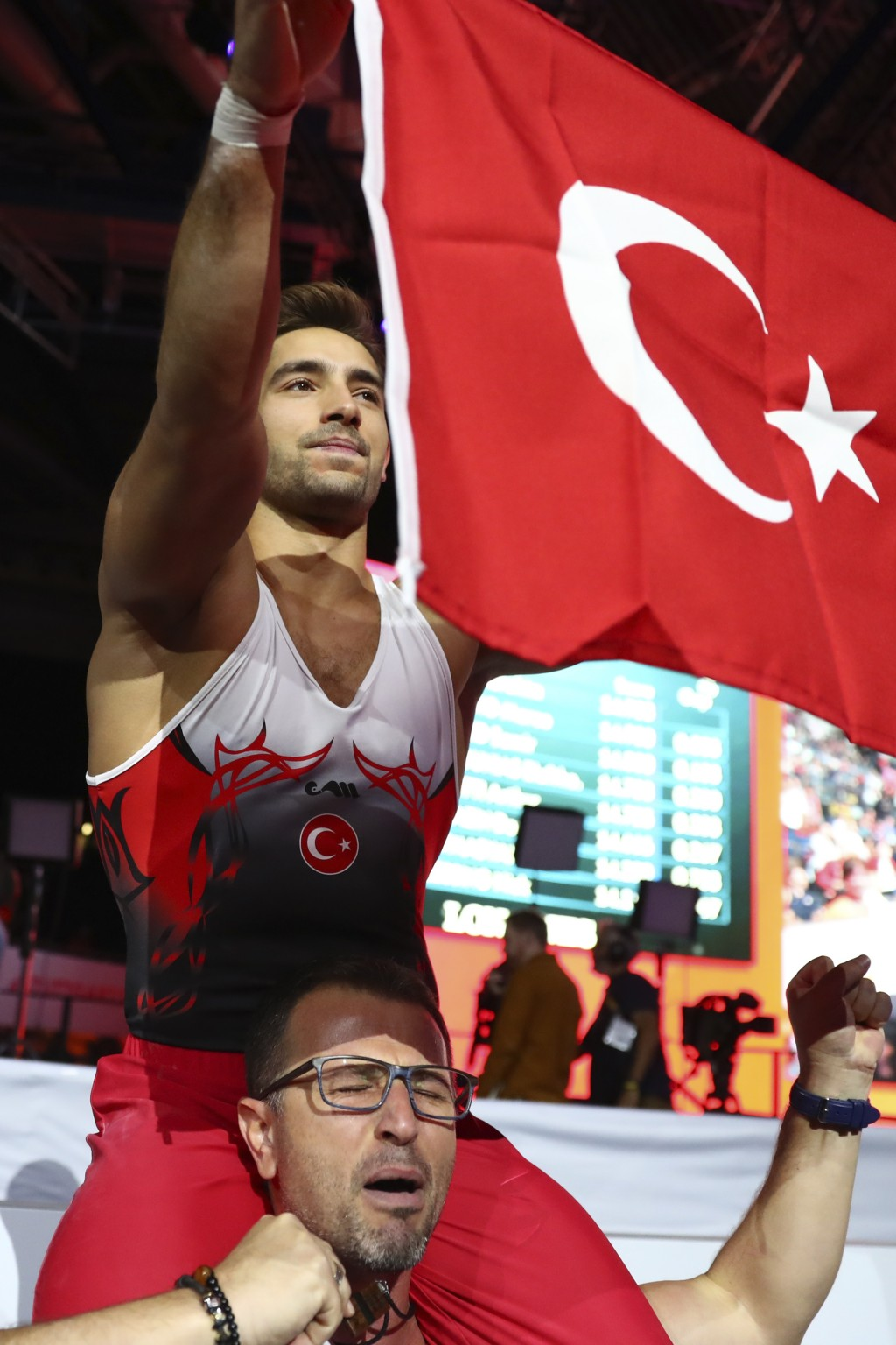 Gold medalist Ibrahim Colak of Turkey celebrates after his performance in the men's rings exercise during the apparatus finals at the Gymnastics World...