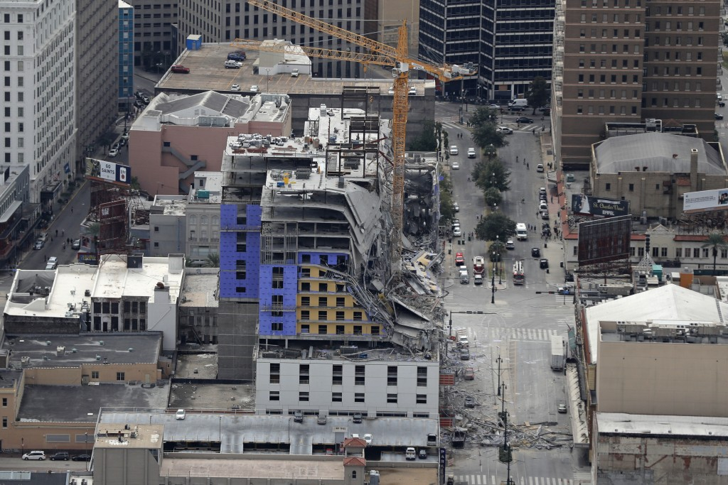 This aerial photo shows the Hard Rock Hotel, which was under construction, after a fatal partial collapse in New Orleans, Saturday, Oct. 12, 2019. (AP