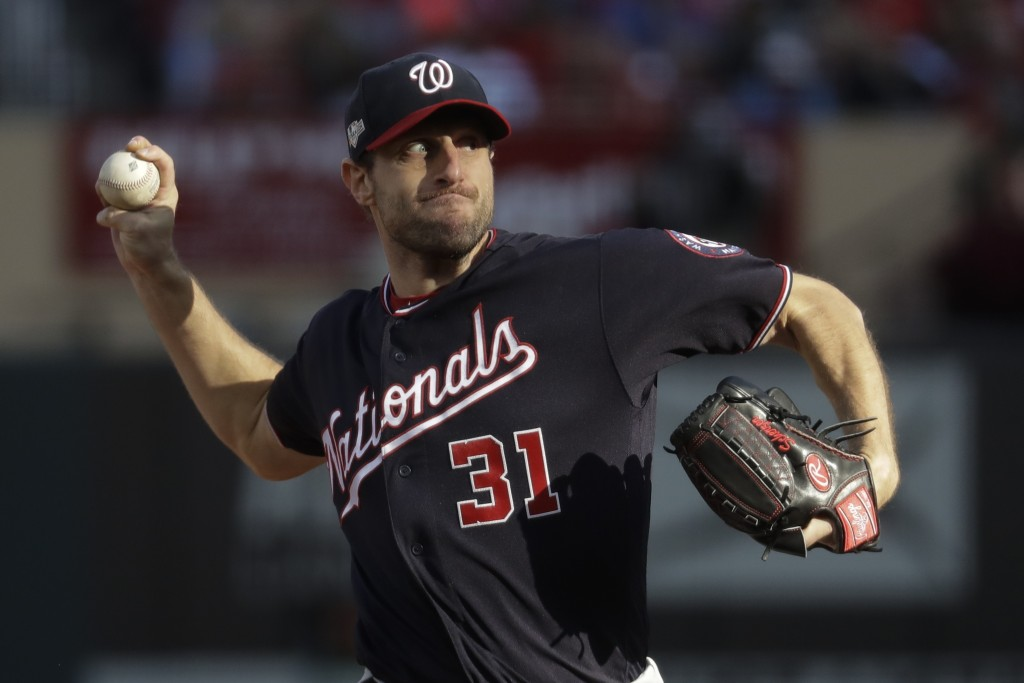 Washington Nationals starting pitcher Max Scherzer during the fourth inning of Game 2 of the baseball National League Championship Series against the ...