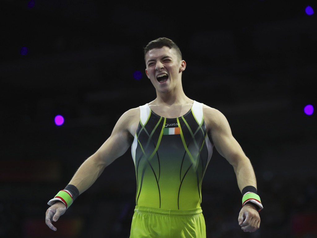 Bronze medalist Rhys McClenaghan of Ireland celebrates after his performance on the pommel horse in the men's apparatus finals at the Gymnastics World
