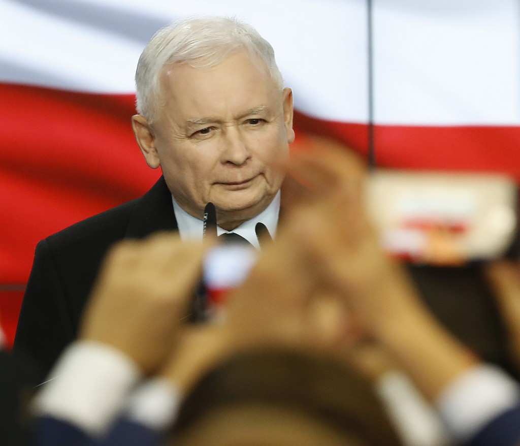 Leader of Poland's ruling party Jaroslaw Kaczynski speaks in reaction to exit poll results right after voting closed in the nation's parliamentary ele...