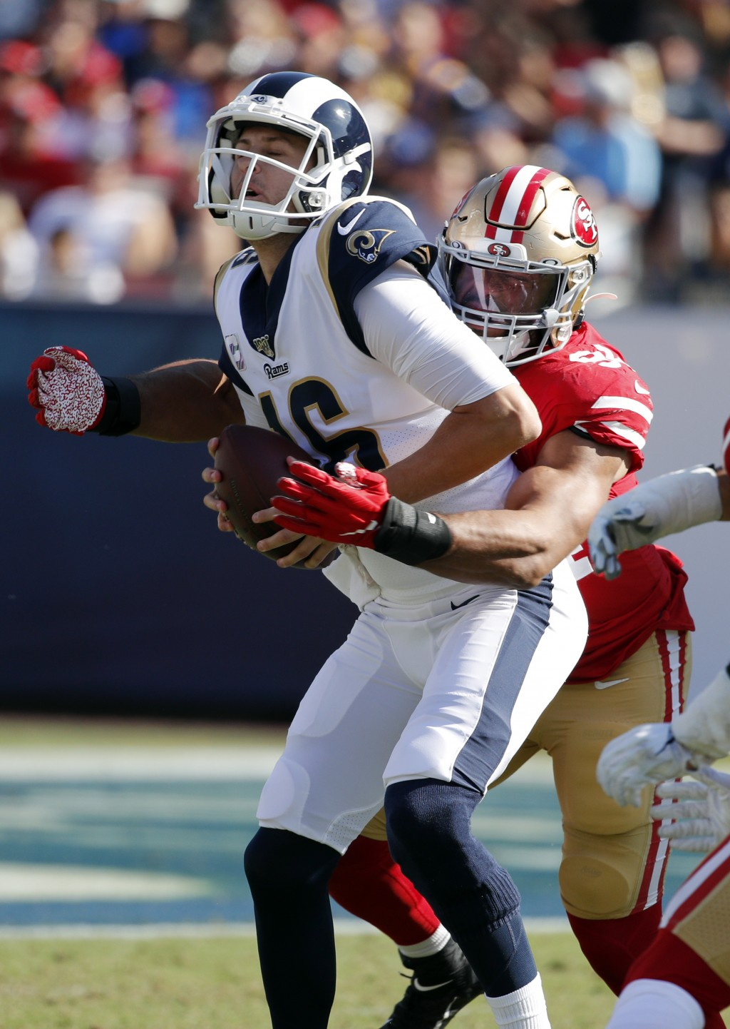 Los Angeles Rams quarterback Jared Goff (16) is sacked by San Francisco 49ers defensive end Solomon Thomas during the second half of an NFL football g...