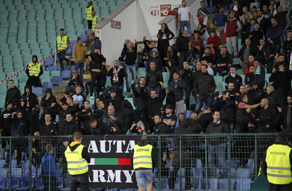 EDS NOTE OBSCENE GESTURES - Bulgarian fans gesture as they stand in the stadium to watch the Euro 2020 group A qualifying soccer match between Bulgari...