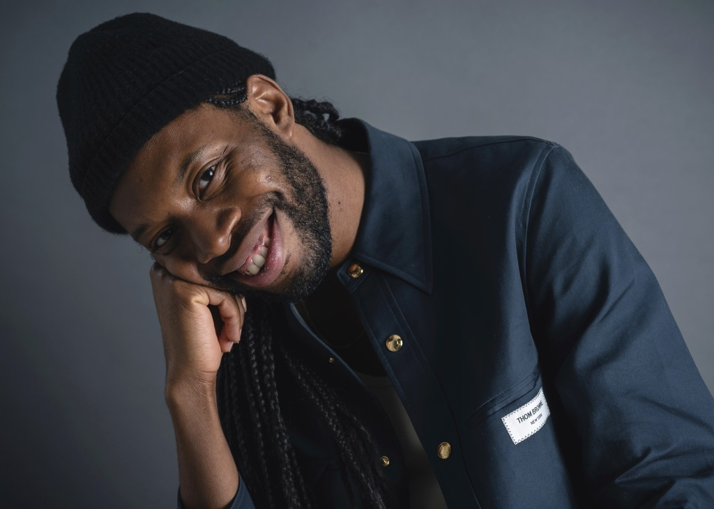"""This Sept. 17, 2019 photo shows playwright Jeremy O. Harris posing in New York to promote his Broadway debut """"Slave Play."""" (Photo by Christopher Smith..."""