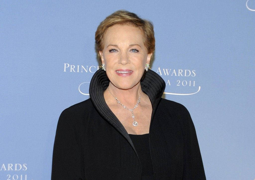 FILE - This Nov. 1, 2011 file photo shows honoree Julie Andrews attending the Princess Grace Foundation Awards gala in New York. Andrews released a me...