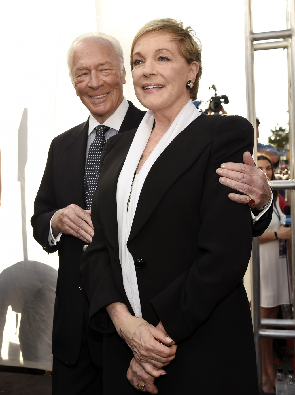 "FILE - This March 26, 2015 file photo shows Christopher Plummer, left, and Julie Andrews, cast members in the classic film ""The Sound of Music,"" at a ..."