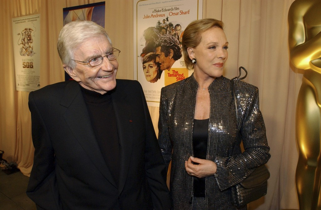 FILE - This Feb. 26, 2004 file photo shows director Blake Edwards, left, and his wife Julie Andrews as they arrive for a special reception for Edwards...