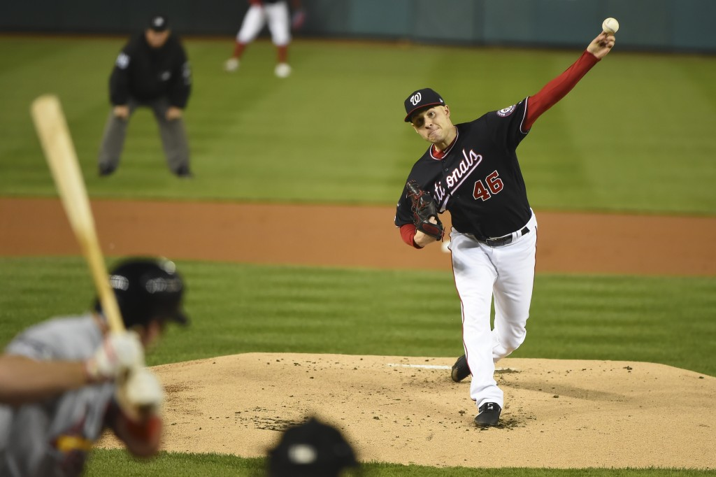 Washington Nationals' Patrick Corbin throws during the first inning of Game 4 of the baseball National League Championship Series against the St. Loui