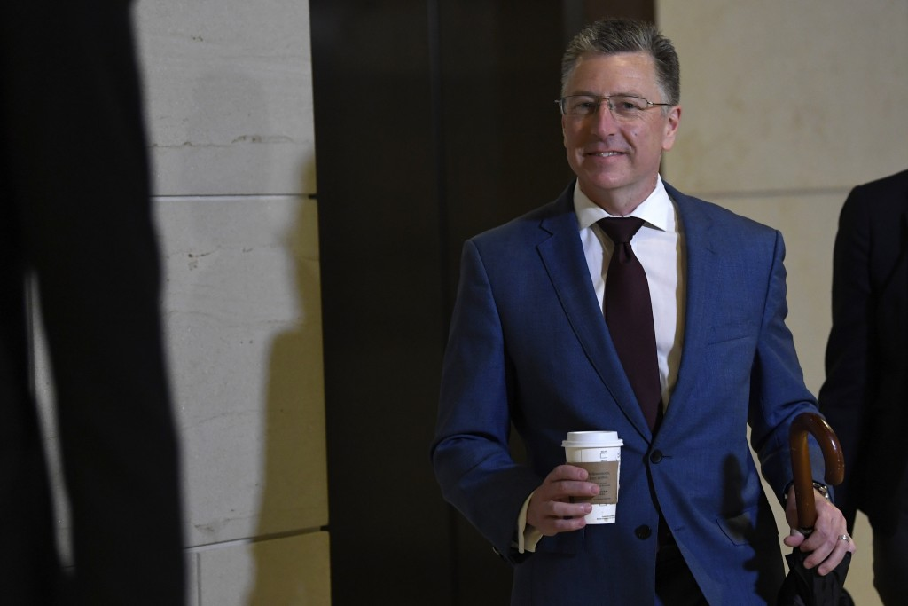 Kurt Volker, President Donald Trump's former special envoy to Ukraine, arrives on Capitol Hill in Washington, Wednesday, Oct. 16, 2019. (AP Photo/Susa...
