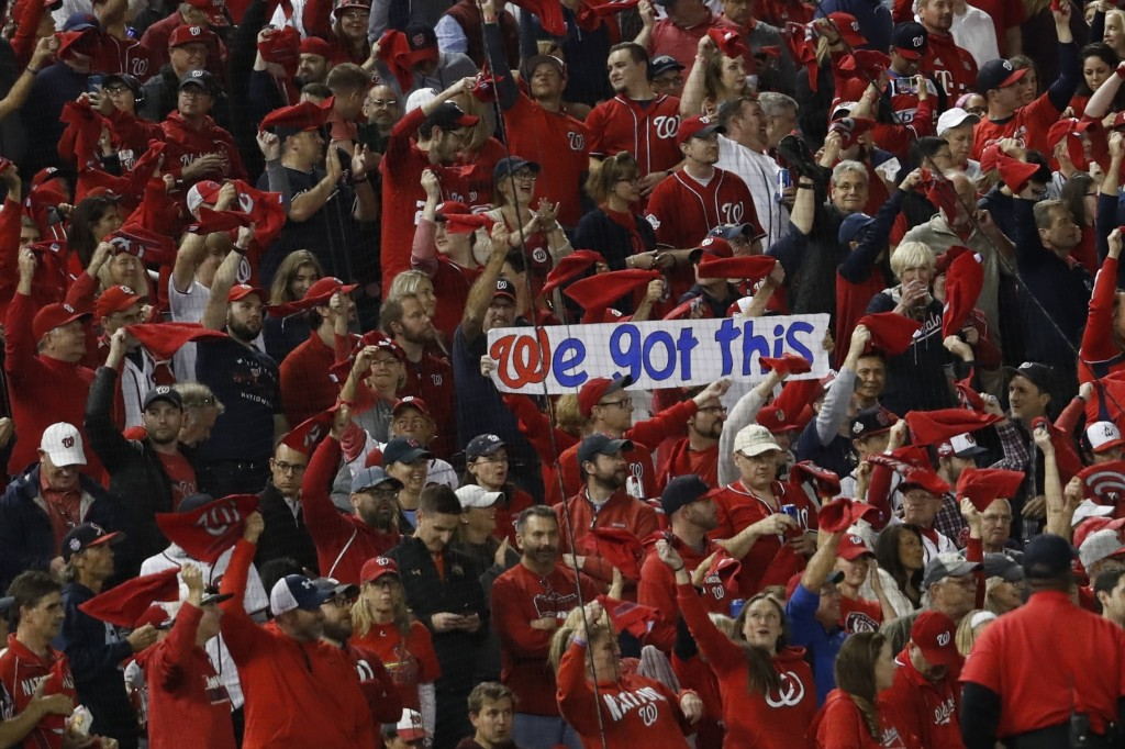 Fans cheer before Game 4 of the baseball National League Championship Series between the St. Louis Cardinals and the Washington Nationals Tuesday, Oct