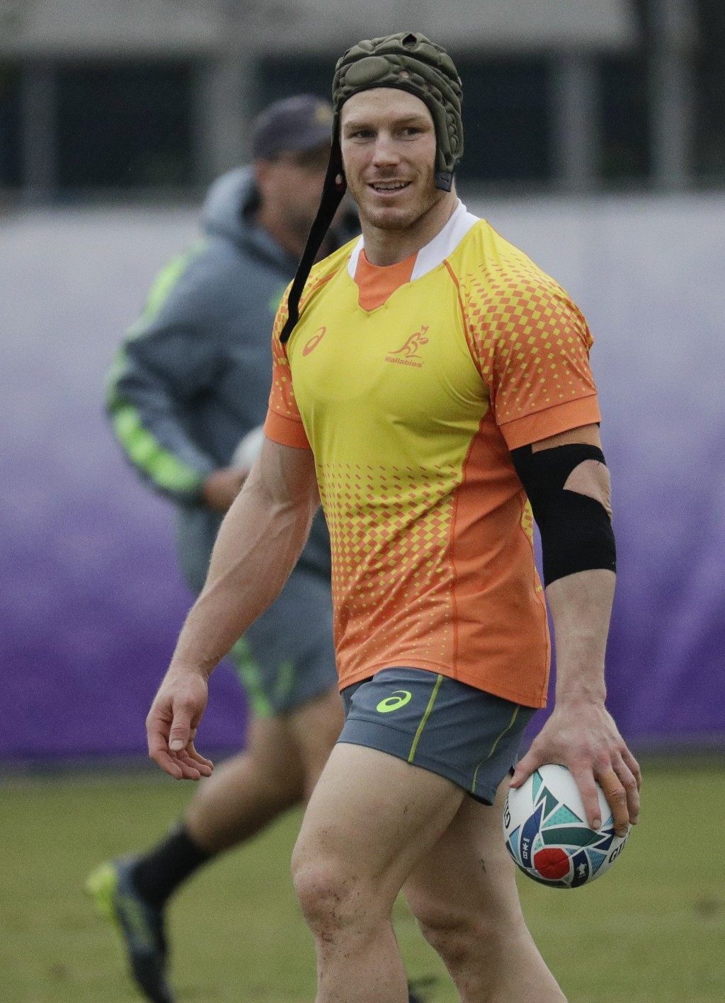 Australian rugby player David Pocock trains at Oita, Japan, Thursday Oct. 17, 2019. Australia will face England in the quarterfinals at the Rugby Worl...