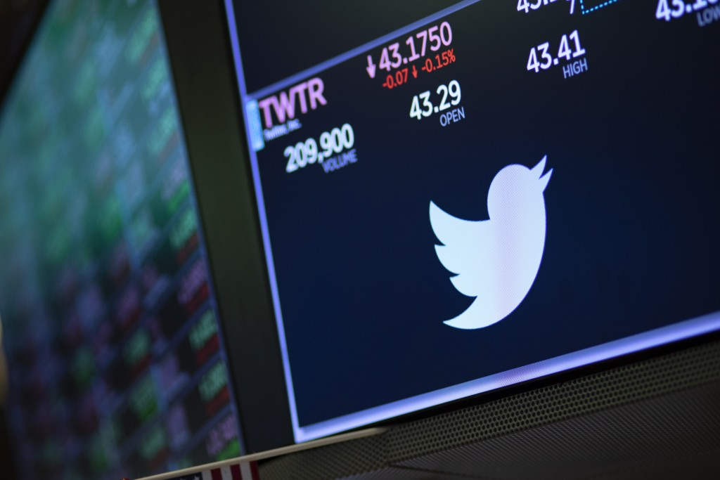 FILE - In this Sept. 18, 2019, file photo a screen shows the price of Twitter stock at the New York Stock Exchange. Amid calls from some Democrats to ...