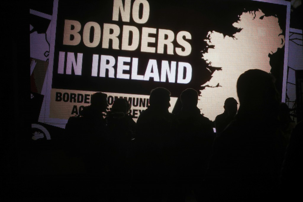 Protesters from the Border Communities Against Brexit group hold a demonstration on the Irish border on the Republic of Ireland side close to the town