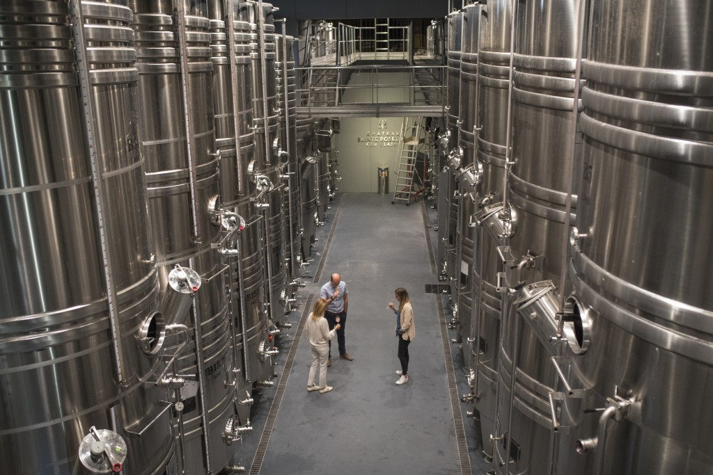 Winemakers taste rose in the production facility of the Chateau Sainte Roseline in the southern France region of Provence Friday Oct. 11, 2019. Europe...