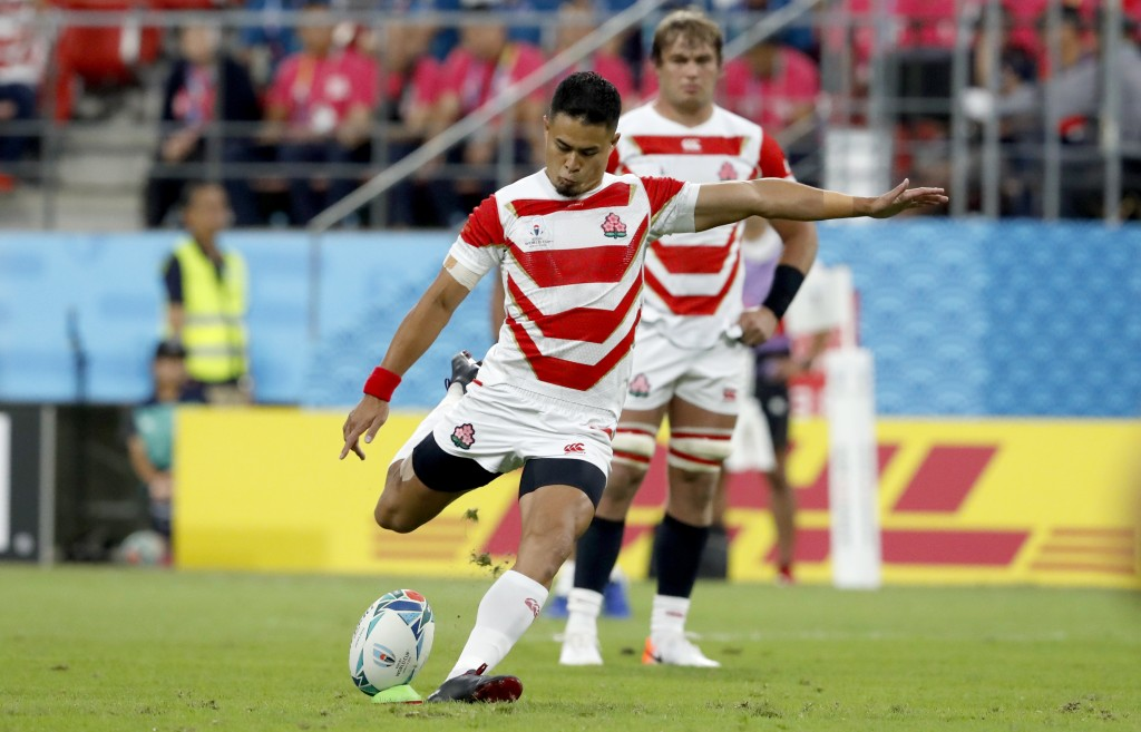 Japan's Yu Tamura kicks a penalty goal during the Rugby World Cup Pool A game at City of Toyota Stadium between Japan and Samoa in Tokyo City, Japan, ...