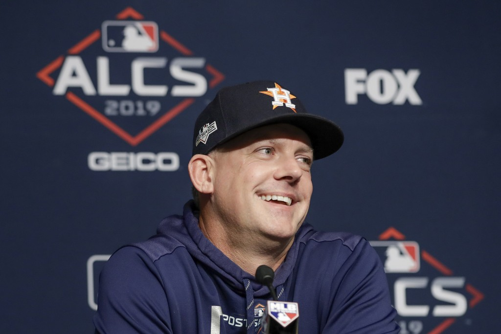 Houston Astros manager AJ Hinch answers questions during a news conference before Game 4 of baseball's American League Championship Series against the...