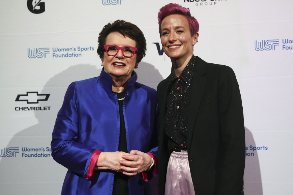 In this Wednesday, Oct. 16, 2019, photo tennis great and founder of the Women's Sports Foundation Billie Jean King, left, and soccer star Megan Rapino...