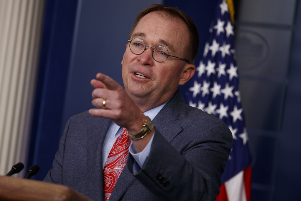 White House chief of staff Mick Mulvaney announces that the G7 will be held at Trump National Doral, Thursday, Oct. 17, 2019, in Washington. (AP Photo
