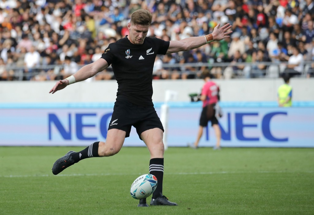 New Zealand's Jordie Barrett kicks a conversion during the Rugby World Cup Pool B game at Tokyo Stadium between New Zealand and Namibia in Tokyo, Japa...