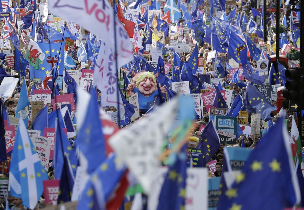 """Anti-Brexit remain in the European Union supporters take part in a """"People's Vote"""" protest march calling for another referendum on Britain's EU member..."""