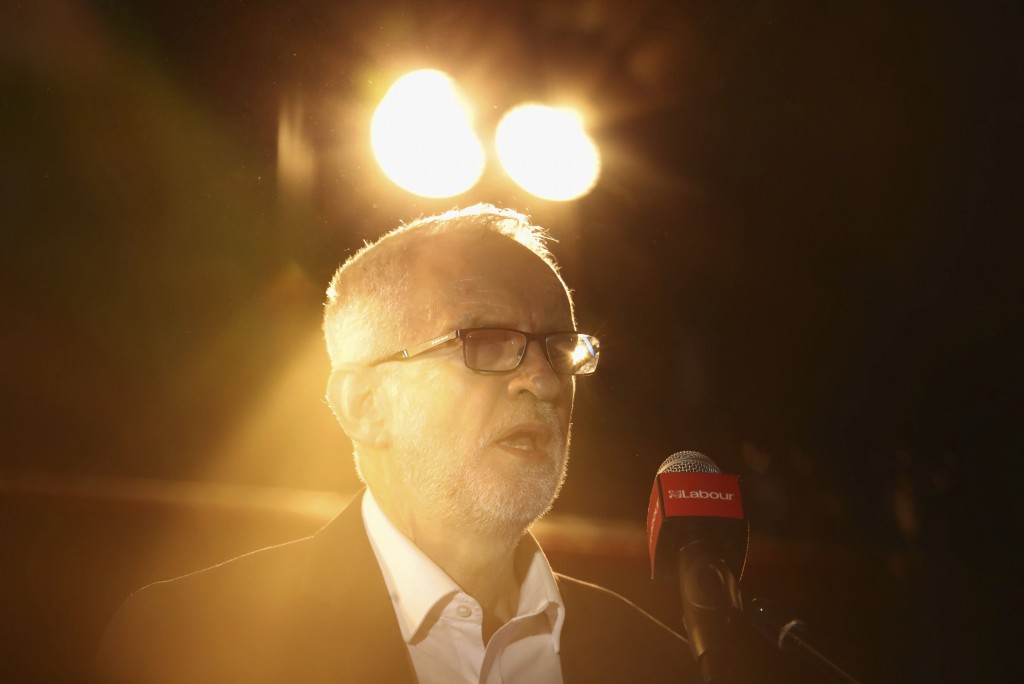 Labour Party leader Jeremy Corbyn delivers a speech at the Grand Central Hall in Liverpool, England, on Saturday Oct. 19, 2019, after the Letwin amend...