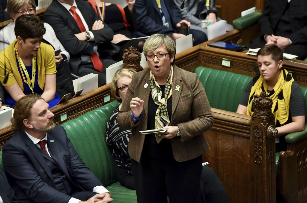 Lawmaker of SNP (Scottish National Party) Joanna Cherry speaks during the Brexit debate inside the House of Commons parliament in London Saturday Oct....