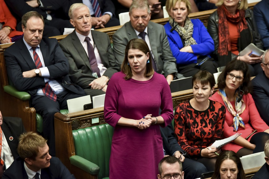 Britain's opposition Liberal Democrat party leader Jo Swinson speaks during the Brexit debate inside the House of Commons parliament in London Saturda...