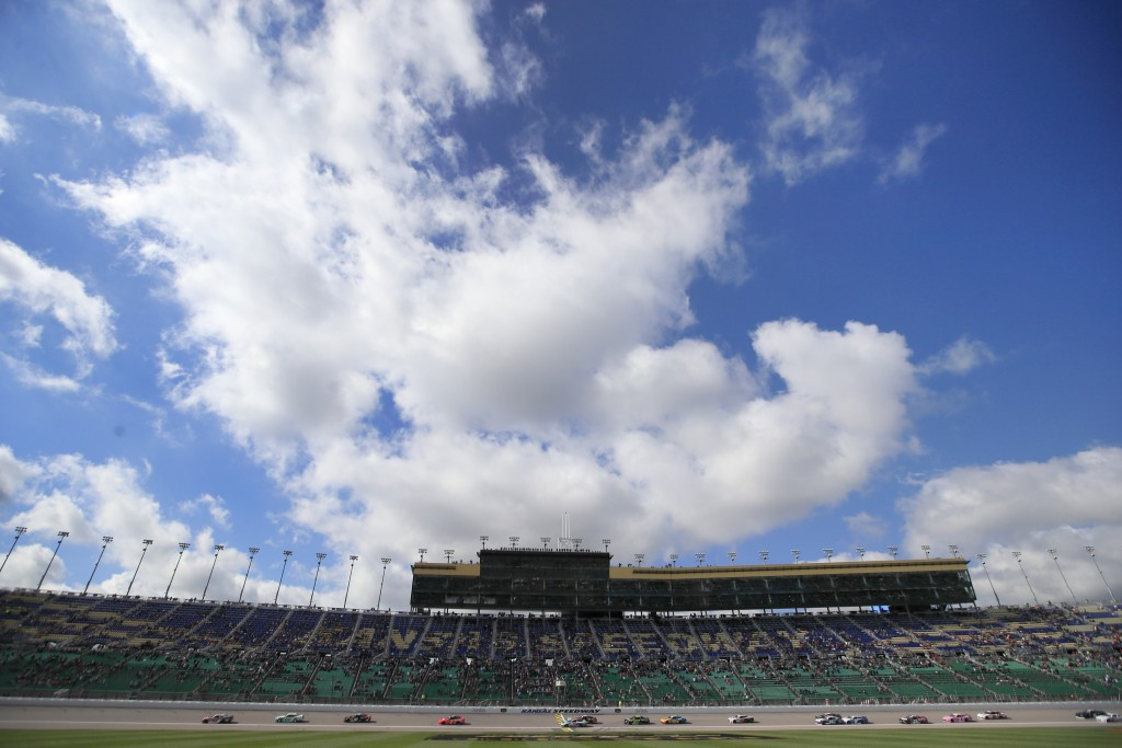 NASCAR Xfinity drivers finish an early lap during a NASCAR Xfinity Series auto race at Kansas Speedway in Kansas City, Kan., Saturday, Oct. 19, 2019. ...
