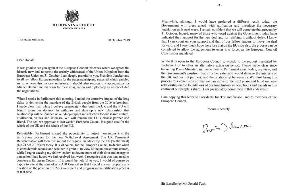 In this image issued by 10 Downing Street, showing of a letter written by British Prime Minister Boris Johnson addressed to the European Council Presi...