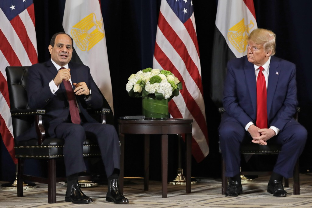 FILE - In this Sept. 23, 2019 file photo, Egyptian President Abdel-Fattah el-Sissi speaks as he meets with President Donald Trump at the InterContinen...
