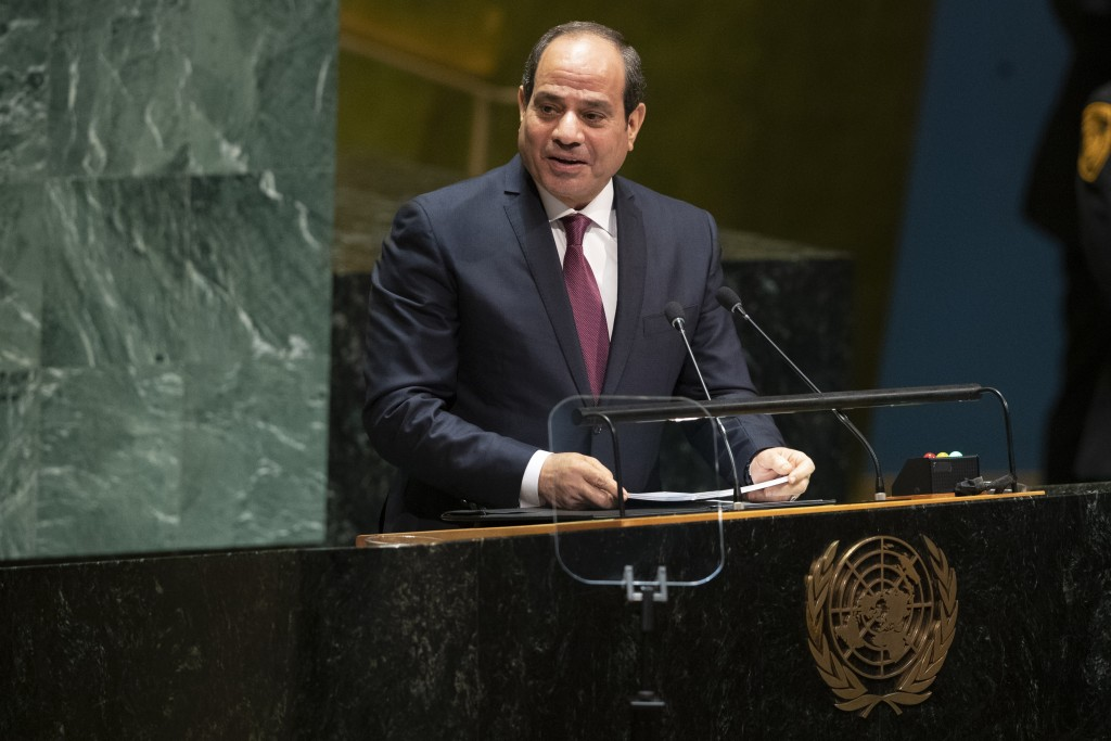 FILE - In this Sept. 24, 2019 file photo, Egyptian President Abdel Fattah el-Sissi addresses the 74th session of the United Nations General Assembly a...