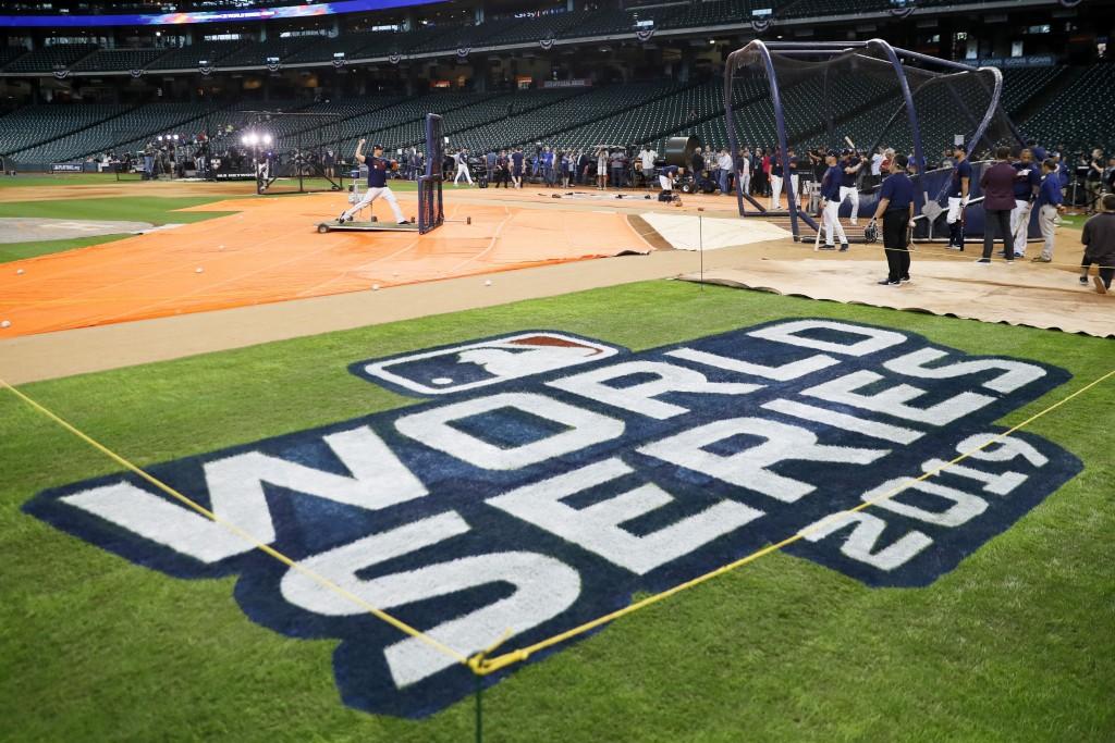 Houston Astros take batting practice for baseball's World Series Monday, Oct. 21, 2019, in Houston. The Houston Astros face the Washington Nationals i...