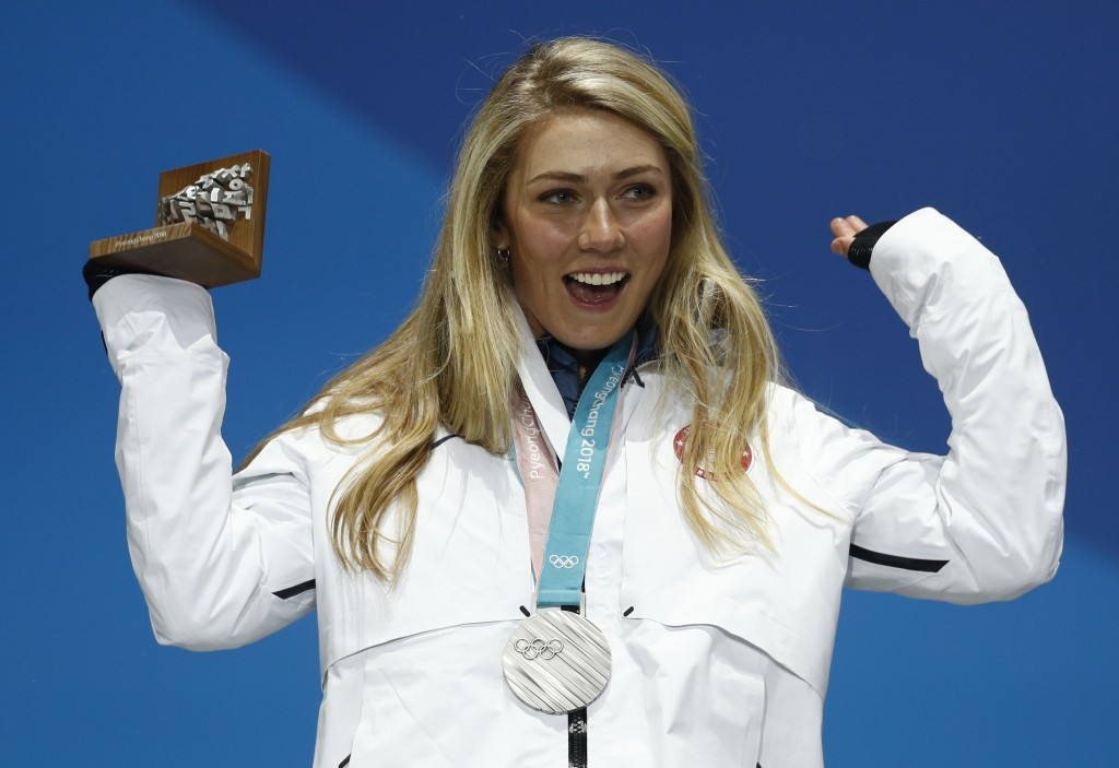 FILE - In this Feb. 22, 2018 file photo silver medalist in the women's combined Mikaela Shiffrin, of the United States, celebrates during the medals c...