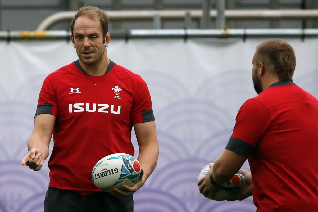 Wales' Alun Wyn Jones, left, and Tomas Francis take part in a training session in Tokyo, Japan, Tuesday, Oct. 22, 2019. Wales will play against South ...