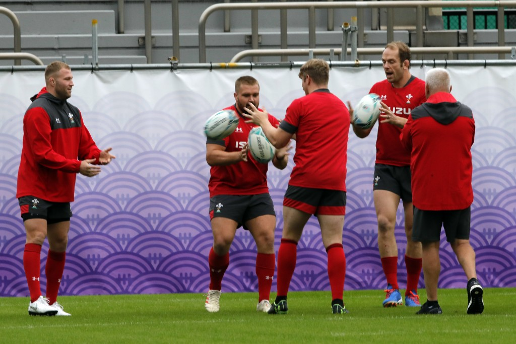 Wales players take part in a training session in Tokyo, Japan, Tuesday, Oct. 22, 2019. Wales will play against South Africa in a Rugby World Cup semif...