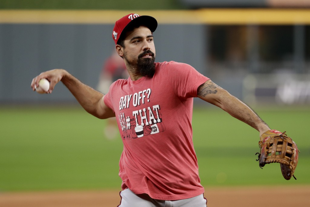 Washington Nationals third baseman Anthony Rendon warms up during batting practice for baseball's World Series Monday, Oct. 21, 2019, in Houston. The ...