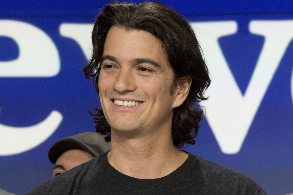 FILE - In this Jan. 16, 2018 file photo, Adam Neumann, co-founder and CEO of WeWork, attends the opening bell ceremony at Nasdaq, in New York. The Wal...