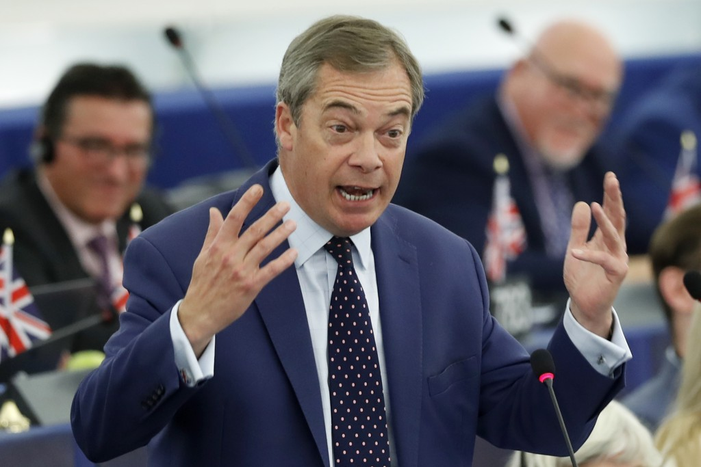 Brexit Party leader Nigel Farage delivers his speech Tuesday, Oct. 22, 2019 at the European Parliament in Strasbourg. Britain faces another week of po...
