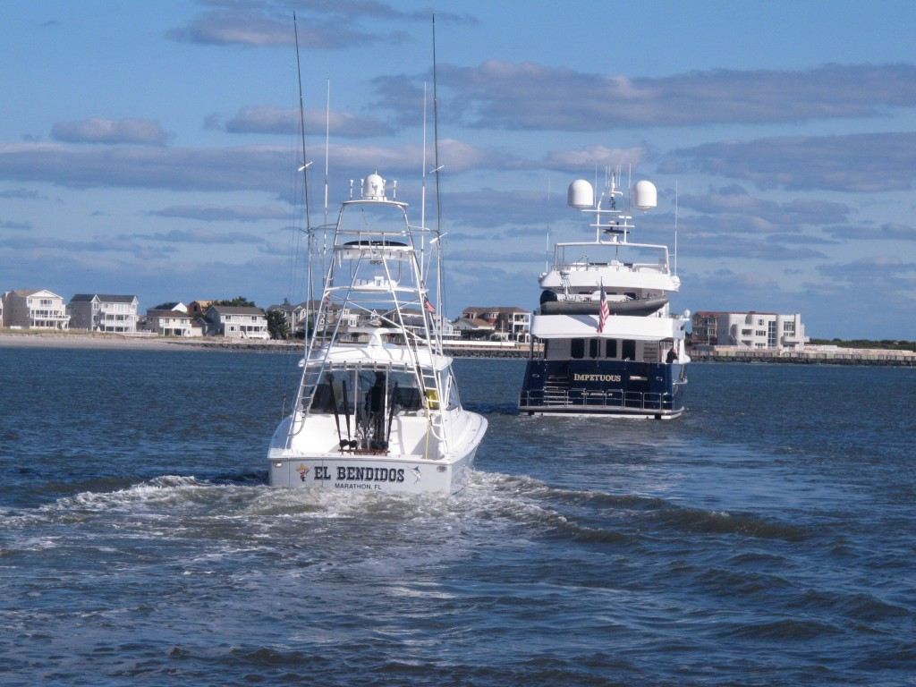 This Oct. 18, 2019 photo shows boats headed out to sea in Atlantic City, N.J. On Oct. 22, 2019, a conference at Monmouth University in West Long Branc...