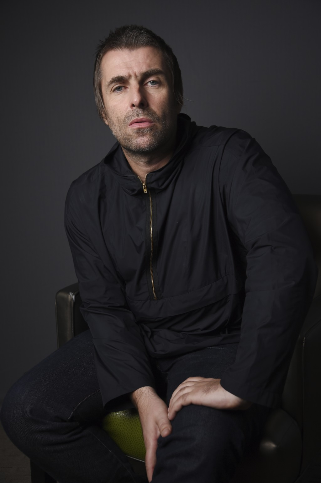 This Oct. 15, 2019 photo shows singer Liam Gallagher posing for a portrait at the Sunset Marquis Hotel in West Hollywood, Calif., to promote his sopho...