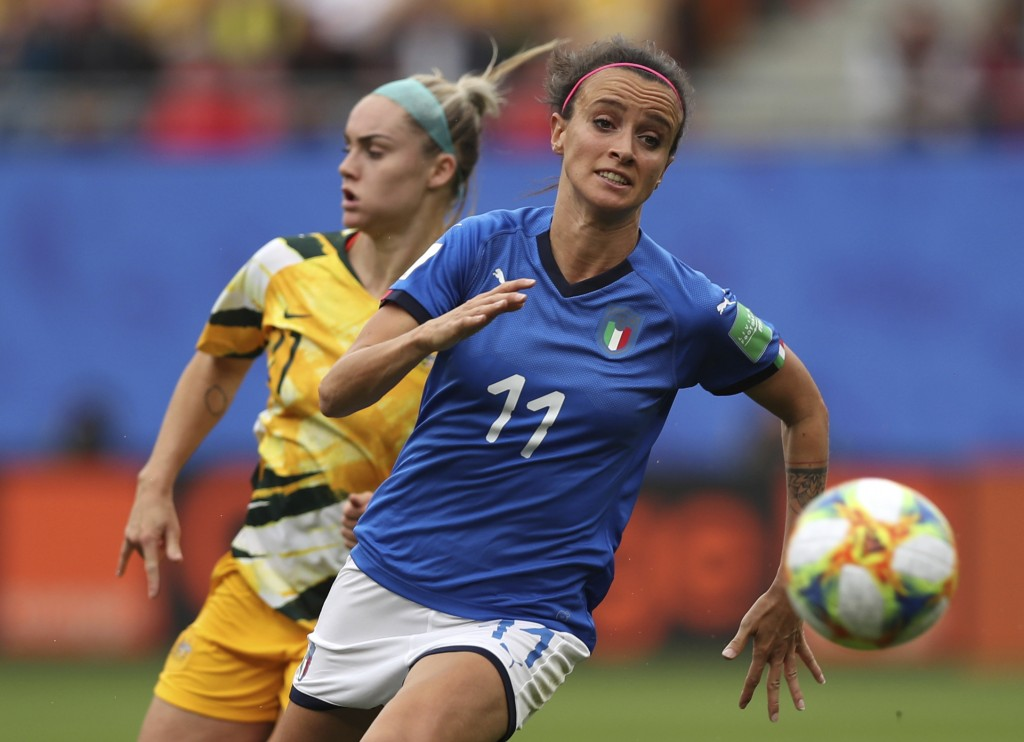 FILE - In this June 9, 2019 file photo, Australia's Ellie Carpenter, left, chases Italy's Barbara Bonansea during a Women's World Cup Group C soccer m...