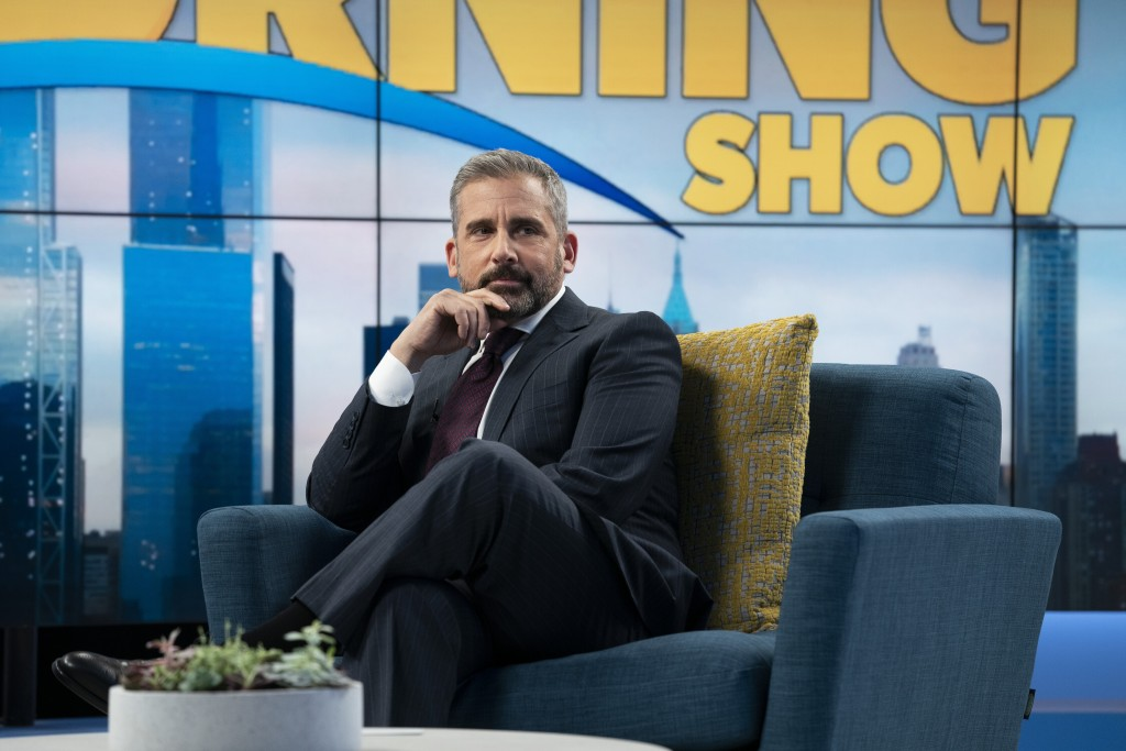 """This image released by Apple TV Plus shows Steve Carell in a scene from """"The Morning Show,"""" debuting Nov. 1, launching the Apple TV Plus streaming ser..."""