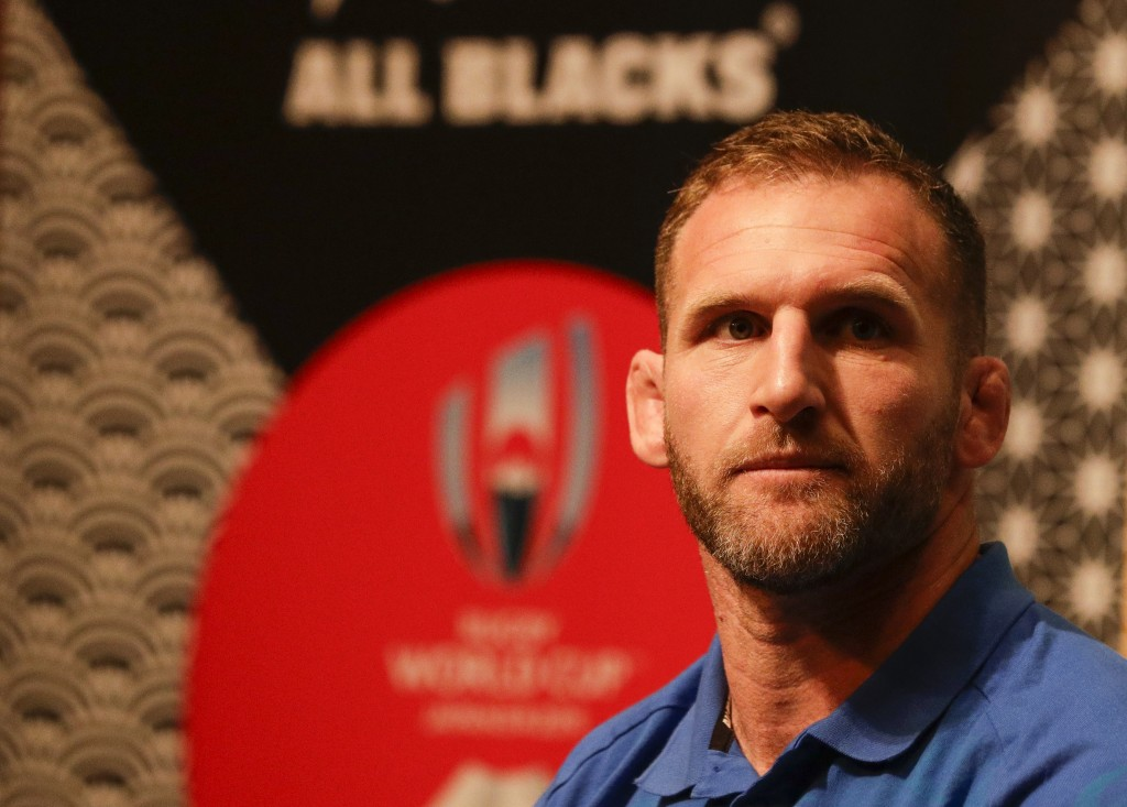 New Zealand rugby team captain Kieran Read listens during a news conference in Tokyo, Japan. Thursday Oct. 24, 2019. New Zealand will face England in ...