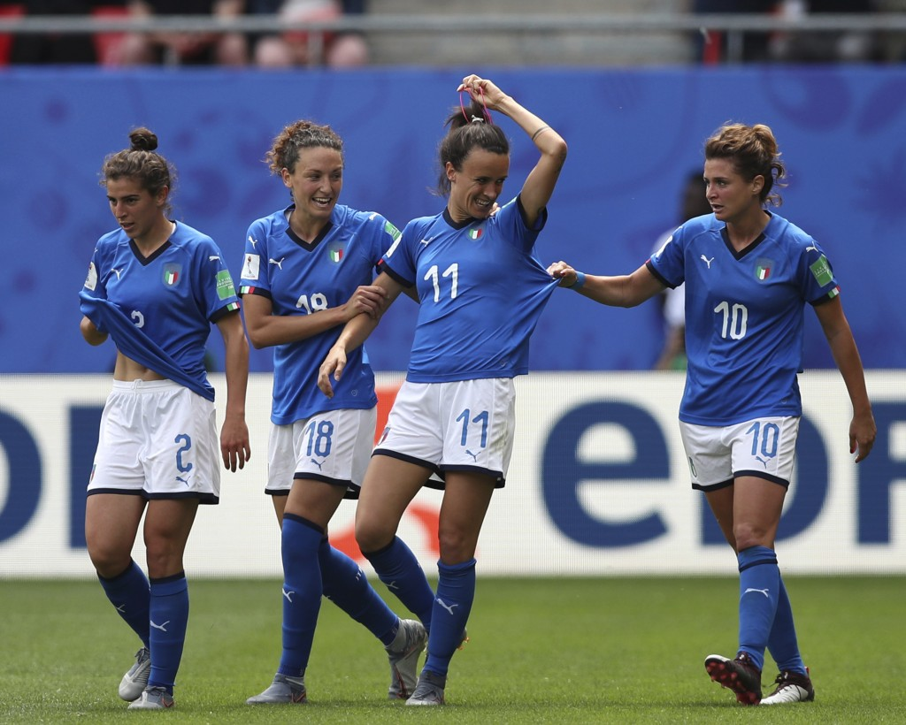 FILE - In this June 9, 2019 file photo, Italy's Barbara Bonansea, second from right, celebrates with teammates after scoring her sides first goal duri...